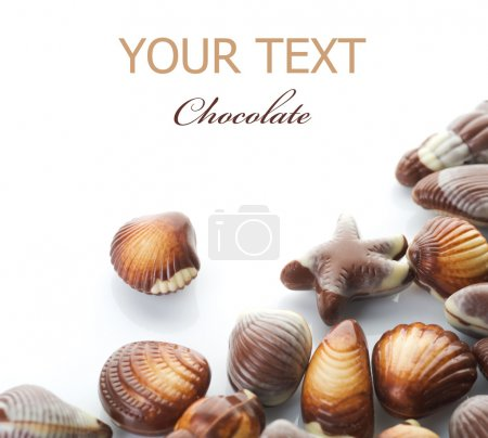 Chocolate Seashells Isolated On White