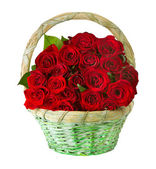 Red Roses.Flowers in the Basket isolated on white.Valentine's Da
