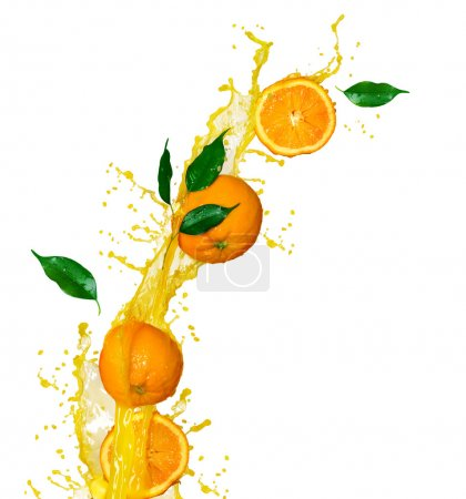 Photo for Orange fruits and splashing Juice in motion - Royalty Free Image