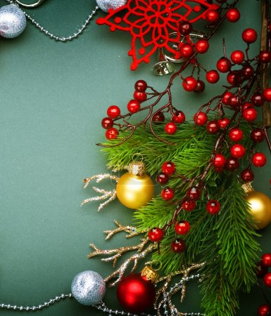 Christmas Decorations border design. Vintage Style