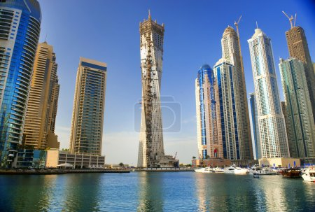 DUBAI, UAE - NOVEMBER 29: View at modern skyscrapers in Dubai Ma