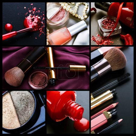 Photo pour Collage de maquillage professionnel - image libre de droit