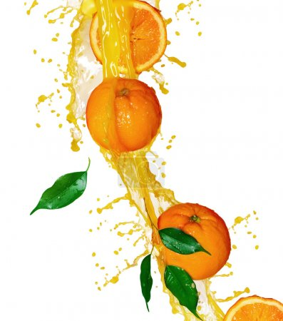 Orange fruits and Splashing Juice over white