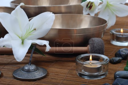 Photo for Accessories for sound massage. Tibetan singing bowls treatment - Royalty Free Image