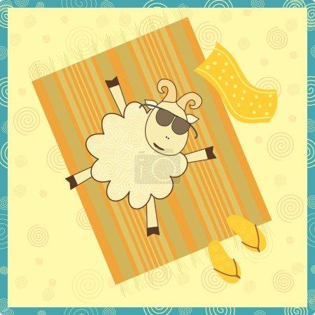 Illustration for Sunbathing sheep - Royalty Free Image