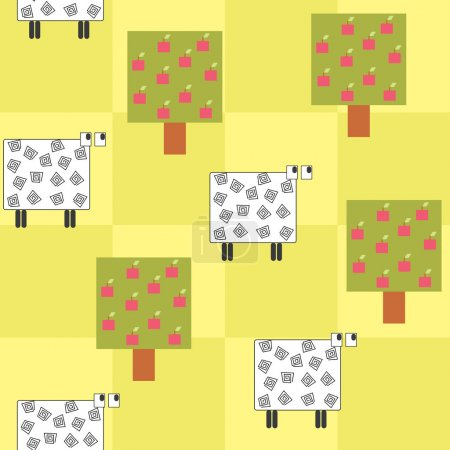 Seamless pattern with a sheep under the tree