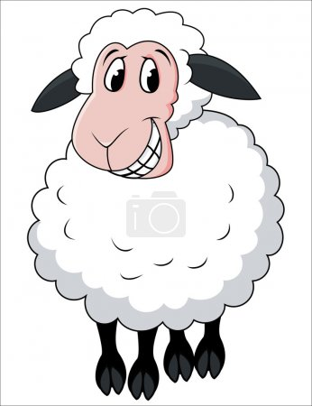Illustration for Vector Illustration Of Smiling Sheep Cartoon - Royalty Free Image