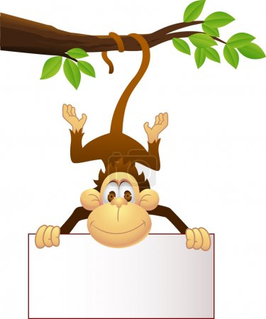 Illustration for Vector Illustration Of Monkey with blank sign - Royalty Free Image