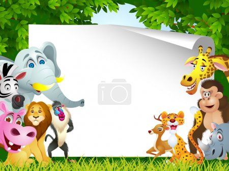 Illustration for Vector Illustration Of Animal cartoon with blank sign - Royalty Free Image