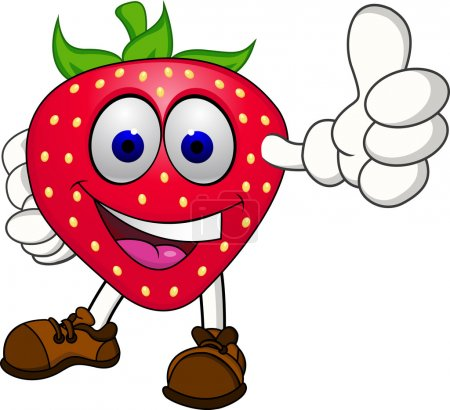 Illustration for Vector Illustration Of Strawberry cartoon character - Royalty Free Image
