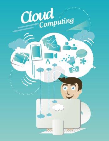 Illustration pour Concetto di cloud computin - image libre de droit