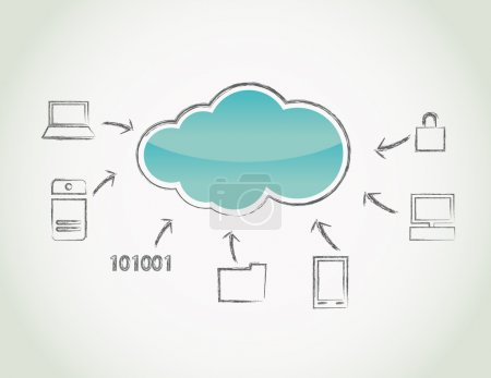 Illustration pour Concept informatique nuage avec éléments - image libre de droit
