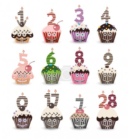 Funny Smile Cupcake for Birthday with Number Candles
