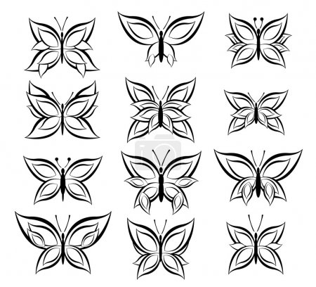 Illustration for Set of Butterfly Vector - Royalty Free Image