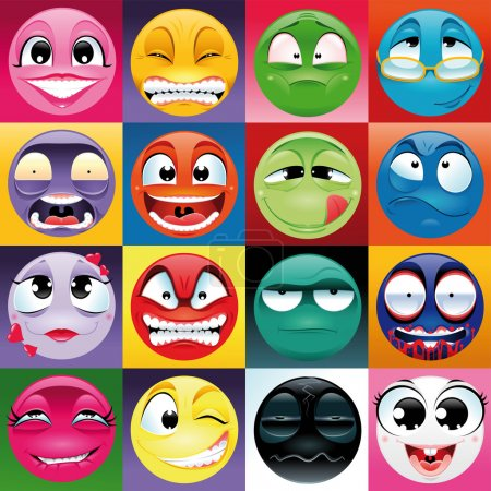 Illustration for Group of expression with background. Funny vector and cartoon elements. - Royalty Free Image
