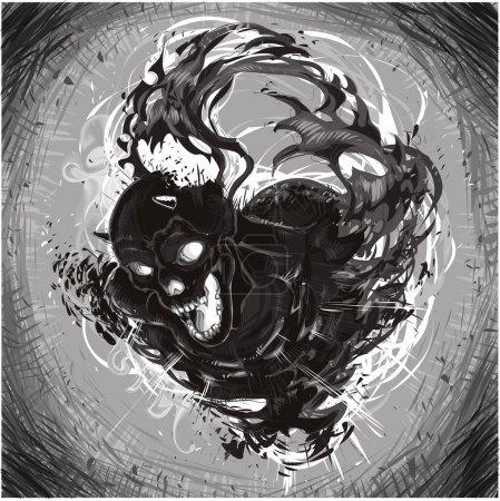 Dark Death. Vector illustration, isolated characte...