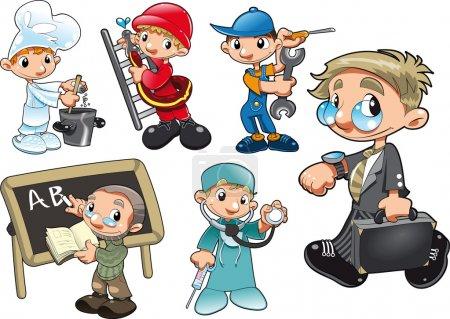 Illustration pour Types de travailleurs. Drôle de dessin animé et de vecteur personnages isolés - image libre de droit