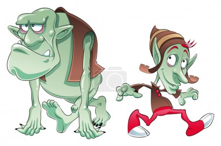 Illustration for Ogre and Elf. Funny cartoon and vector characters - Royalty Free Image