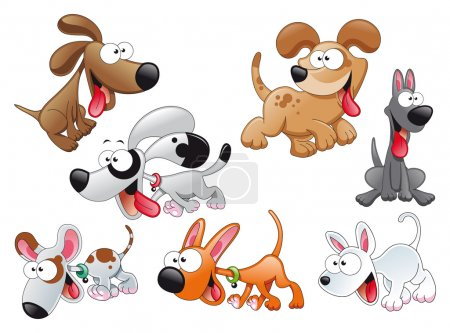 Family of dogs. Funny cartoon and vector illustrat...