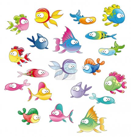 Illustration for Family of fish. Funny cartoon and vector character - Royalty Free Image