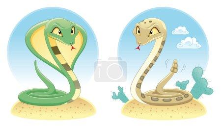 Illustration pour Deux serpents : Cobra et Pit Viper avec fond. Caricature et reptiles vecteurs - image libre de droit