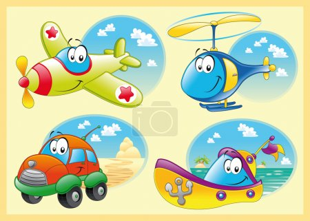 Illustration for Family of vehicles. Funny cartoon and vector illustration. - Royalty Free Image