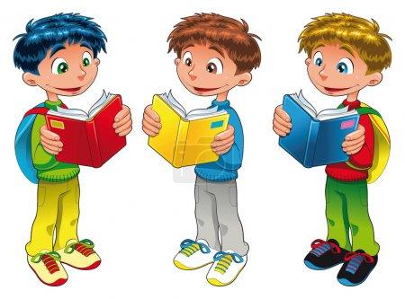 Three boys are reading.