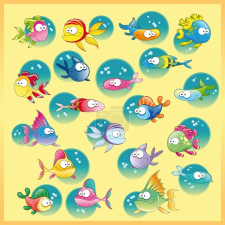 Illustration for Family of fish with background. Funny cartoon and vector illustration. - Royalty Free Image