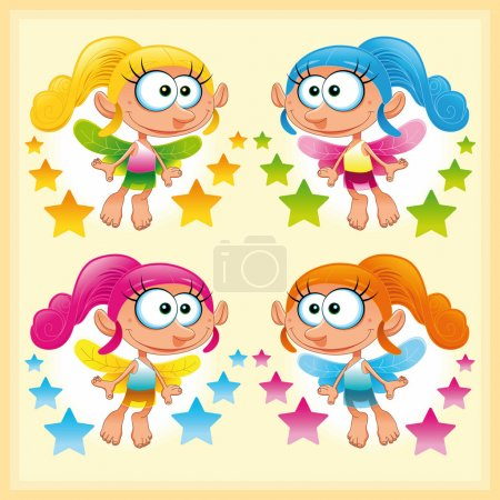 Illustration for Set of funny Fairy. Funny cartoon and vector illustration. - Royalty Free Image