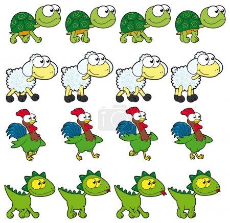 Illustration pour Animal marchant animations. caricature de vecteur et des caractères isolés. vous pouvez utiliser les quatre images en boucle, chaque animal. - image libre de droit