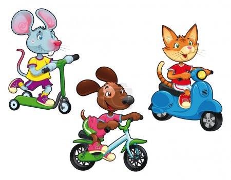 Animals on vehicles.