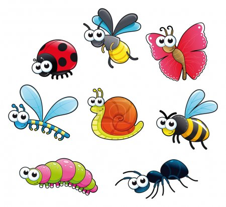 Illustration for Bugs + 1 snail. Funny cartoon and vector isolated characters. - Royalty Free Image