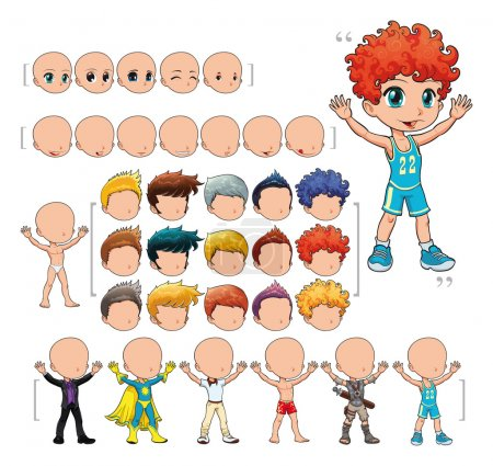 Illustration for Avatar boy, vector illustration, isolated objects. All the elements adapt perfectly each others. Larger character on the right is just an example. 5 eyes, 7 mouths, 15 hair and 7 clothes. Enjoy!! - Royalty Free Image