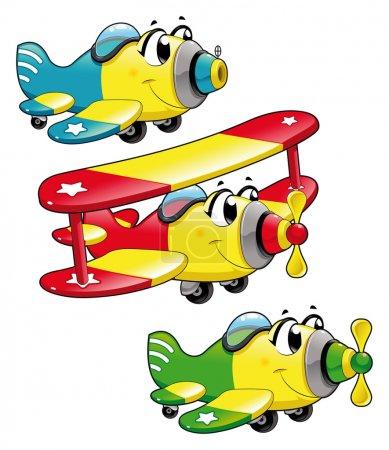 Illustration pour Avions caricaturaux. Caractères vectoriels drôles, objets isolés - image libre de droit