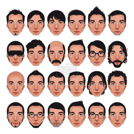 Illustration for Avatar, men's portraits. Vector isolated characters with different hairstyles - Royalty Free Image