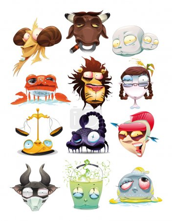 Illustration for Funny Zodiac. Cartoon and vector illustration, isolated objects - Royalty Free Image