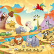 Savannah animal family with background. Funny cartoon and vector illustration, isolated objects.
