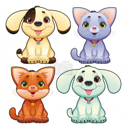 Cute dogs and cats.
