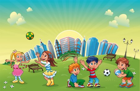 Photo for Boys and girls are playing in the park. Funny cartoon and vector scene. - Royalty Free Image