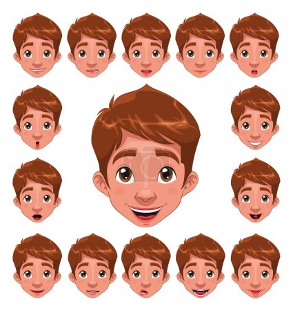 Illustration for Boy Expressions with lip sync. Funny cartoon and vector character. - Royalty Free Image