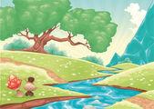 Cartoon landscape with stream