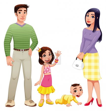 Illustration for Human family with mother, father and children. Cartoon vector illustration - Royalty Free Image