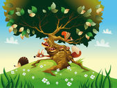 Cartoon landscape with animals