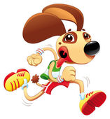 Funny dog is running
