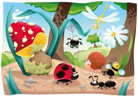 Illustration pour Une famille d'insectes sur le terrain. Drôle de dessin animé et de scène vectorielle. Objets isolés . - image libre de droit