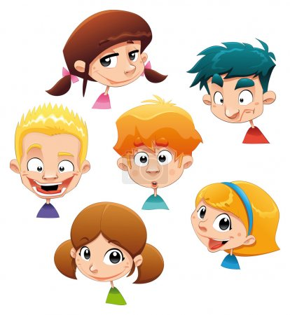 Set of different character expressions.