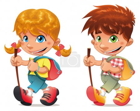 Illustration for Trekking boy and girl. Funny vector and cartoon isolated characters. - Royalty Free Image