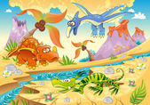 Monsters Dinosaurs with prehistoric background Cartoon and vector illustration