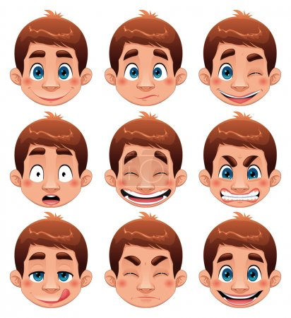 Illustration for Boy Expressions. Funny cartoon and vector character. - Royalty Free Image