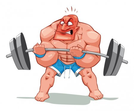 Illustration for Muscle man, funny cartoon and vector character. Object isolated. - Royalty Free Image